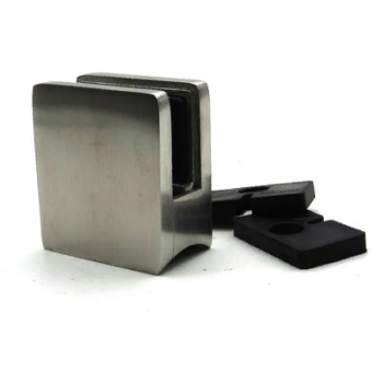Стеклодержатель квадратный литой, для стекла 10-12 мм, на трубу Ø38,1 мм.